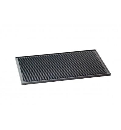 Plaque grillade 600x400mm réfractaire, antiadhésif - 1 côté lisse, 1 côté nervuré
